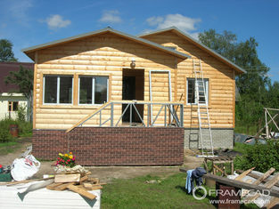 China Steel Structure Modern Wooden Log Houses , High Insulation Prefabricated Bungalow Homes supplier